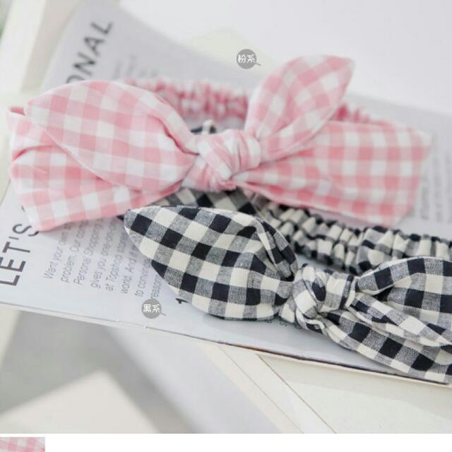 ✨含運✨粉色格子鬆緊髮帶