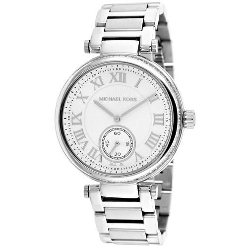 (預購)Michael Kors設計師時代羅馬時標晶鑽腕錶-銀/40mm