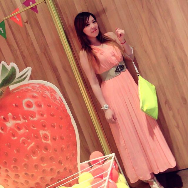 MOMA精品服飾 二手氣質粉長洋裝 #W11