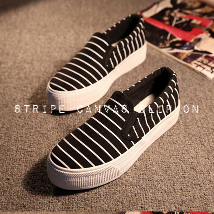Stripe Canvas Slip On Loafer