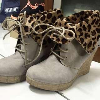 冬季 豹紋高跟鞋 包頭 23.5