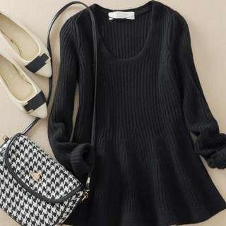 🚚 厚腰身毛衣上衣 毛衣 黑色簡單韓國流行腰身保暖 波浪傘裙#衣櫃大掃除