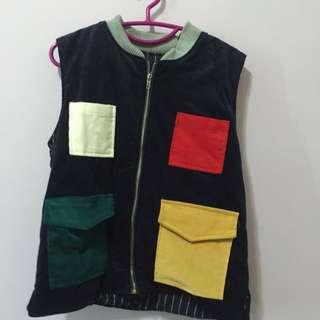日本可愛拼色多彩口袋背心