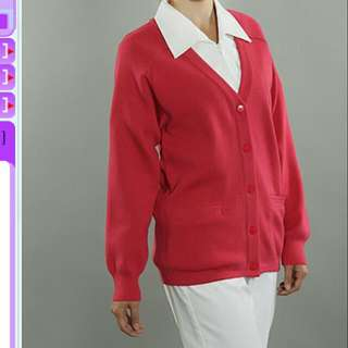 雙層50%羊毛桃紅外套
