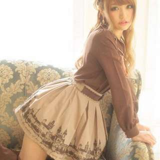 降價 日牌 Ank Rogue mussa Miaii 仿品 城堡 百摺 高腰 短裙 圖3咖啡色