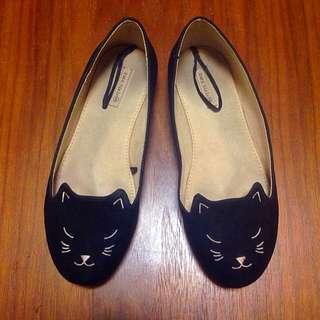 ZARA黑色貓咪娃娃平底便鞋