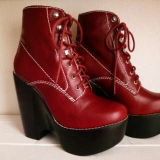 (Pending) Size 7 Jeffery Campbell - Tardy In red