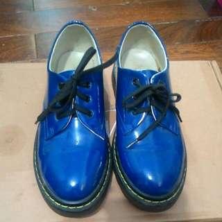 Ann's 寶藍漆皮馬汀鞋 38號 非Dr.Martens