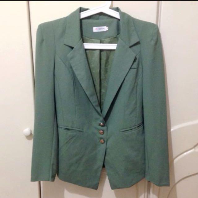 墨綠好挺度薄西裝外套