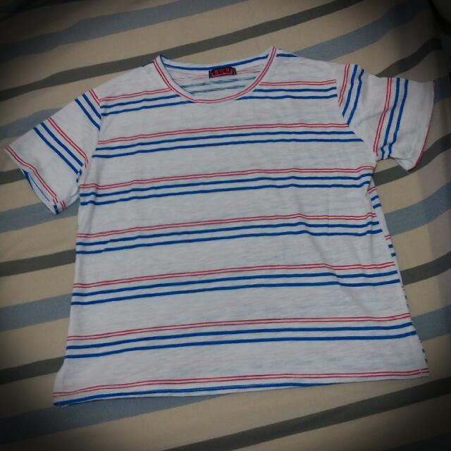 韓版藍紅條紋寬版上衣 全新