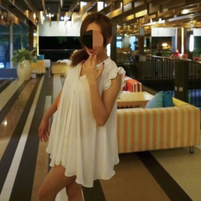 正韓 白色雪紡洋裝