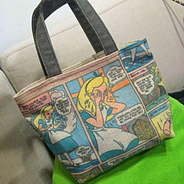 [全新]日本購入 愛麗絲雙面麻質手提包