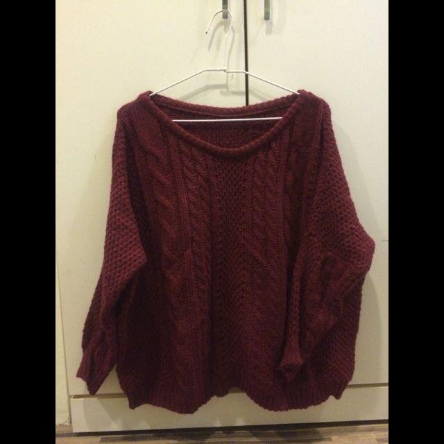 針織毛衣 (酒紅)