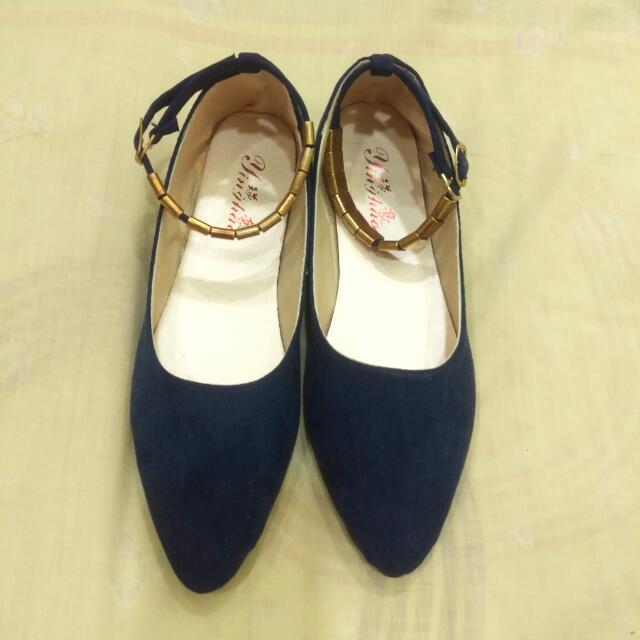 尖頭平底鞋 深藍色