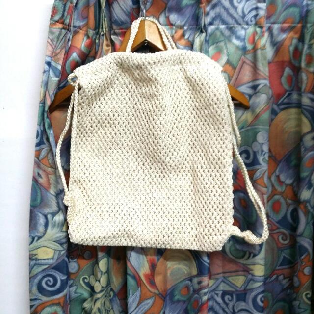 麻質 編織 日系 日雜 韓系 背包 側背包 手提包 海邊 比基尼 蕾絲布 全新 米白 束口包 海灘 度假 出遊 日雜