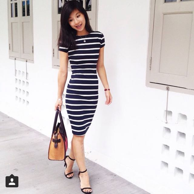 Mds stripes dress black