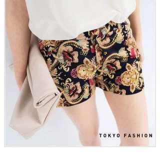 網拍轉賣✨東京著衣 復古圖騰花紋棉短褲 L