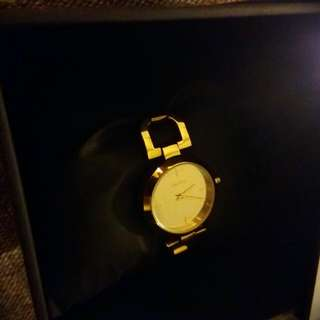 DKNY 金色D邊鍊錶24mm