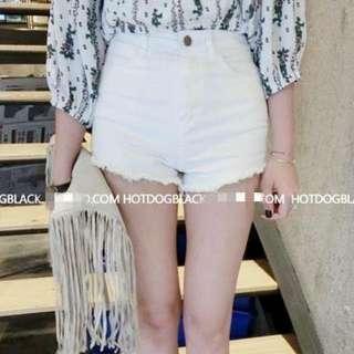 白色高腰短褲M