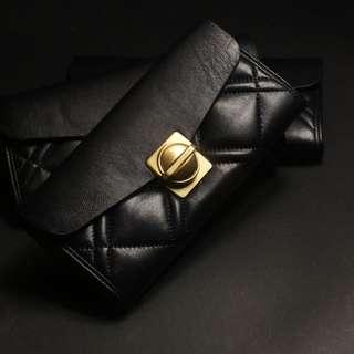 Mj Marc By Marc Jacobs 小馬克 羊皮皮夾 菱格紋 黑色長夾