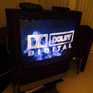 "24"" SONY TV, Toshiba DVD Player & Stand"