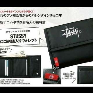 stussy黑色刺繡短夾三折錢包