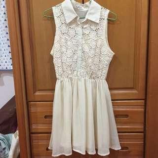 韓貨 僅剪標 雕花米白洋裝