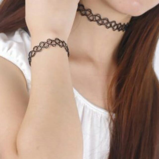 黑色刺青紋身彈性項鍊手鍊