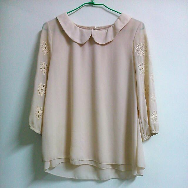 (保留中)杏色雪紡紗衫