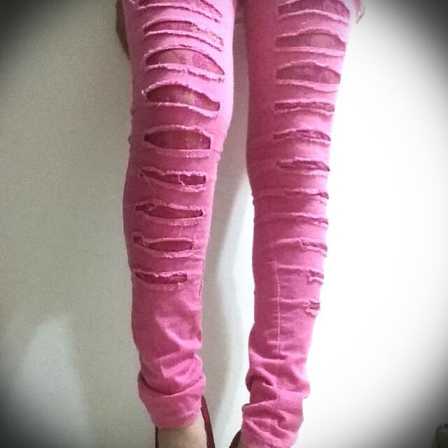 粉紅蕾絲窄褲 80元