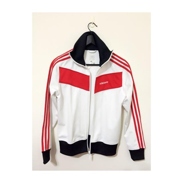 Adidas 復古 古著 白底紅線運動外套 (S)
