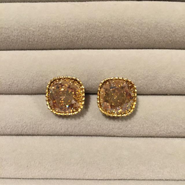 Gold CZ Stud Earrings