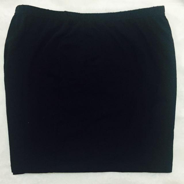 Lativ 純棉窄裙 黑色