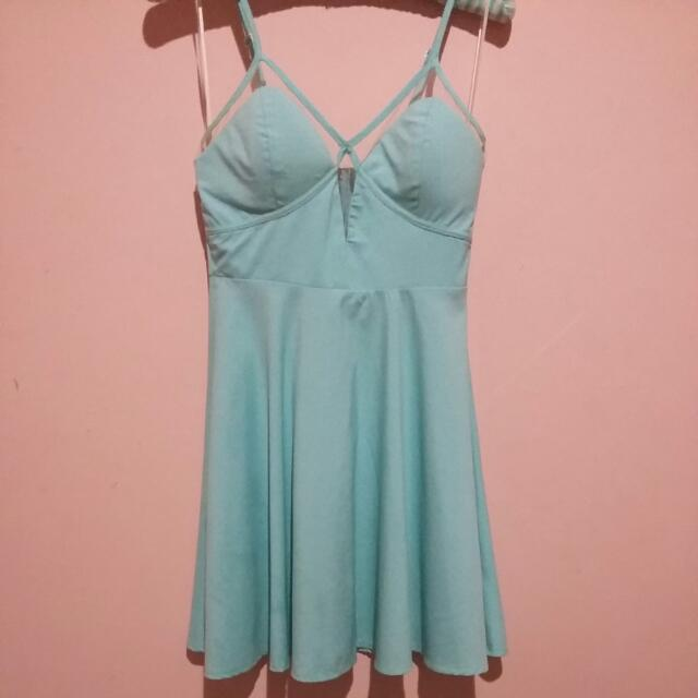 Light Blue Dress With Mesh