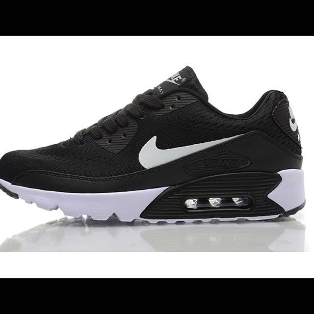 Nike Air Max 90 PREMIUM EM 氣墊鞋針織面運動鞋 黑白色男款