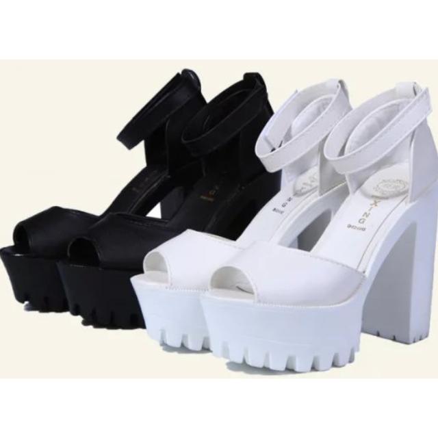 1738235f21a (PO) Chunky Platform Velcro Strap Sandal   Heel - Stylenanda Jeffrey  Campbell Inspired