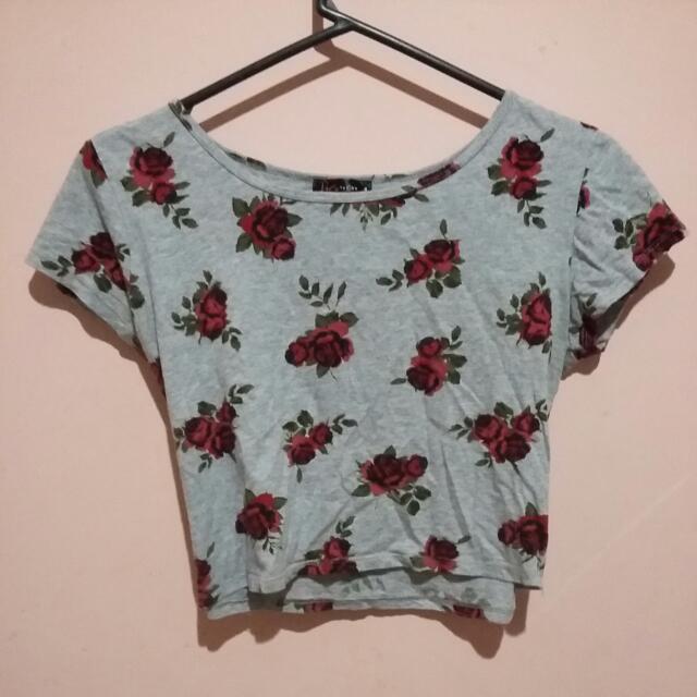 Rose Pattern Cotton Crop Top