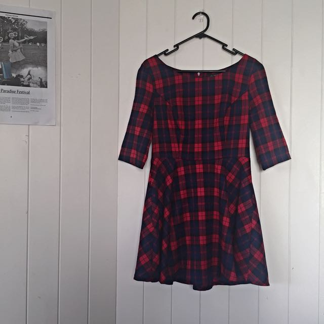 Plaid Skater Dress with 3/4 Sleeves from Dishh