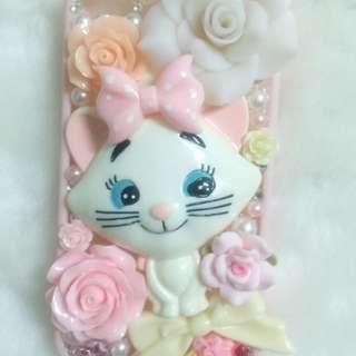 I Phone4/4s 手機殼 瑪麗貓 手工