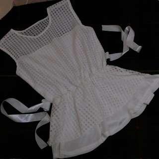 【二手】純白透明格紋上衣/短洋
