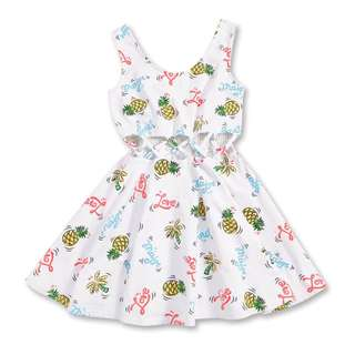 【收】夏日椰子樹鳳梨腰間交叉縷空背心洋裝【Mavis Major Made】