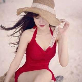 溫泉 連身泳衣 紅L 現貨