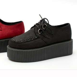 黑色麂皮厚底鞋