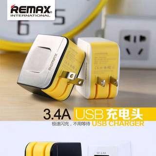 🚚 REMAX USB充電器/雙孔充/3.4A極速/全新品