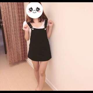 黑色口袋吊帶裙
