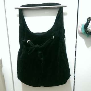 【二手】黑色絨布束口包