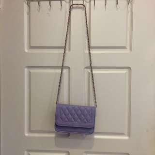 🚚 馬卡龍紫色金鍊硬殼小包
