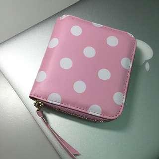 粉紅Pink點點短夾 全新