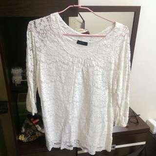 LOVFEE白色蕾絲上衣(L)