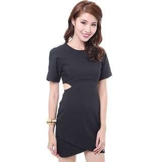 MDS Short Sleeve Cut Out Dress